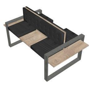 Banc double avec assise simili cuir