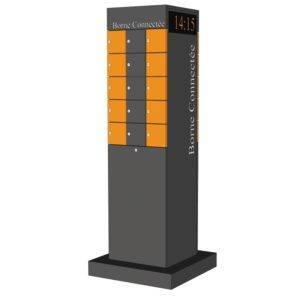 Borne connectée 30 casiers avec horloge intégrée