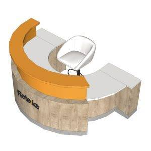 Comptoir demi - circulaire 1 bloc