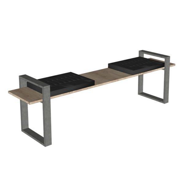 Banc avec assise simili cuir
